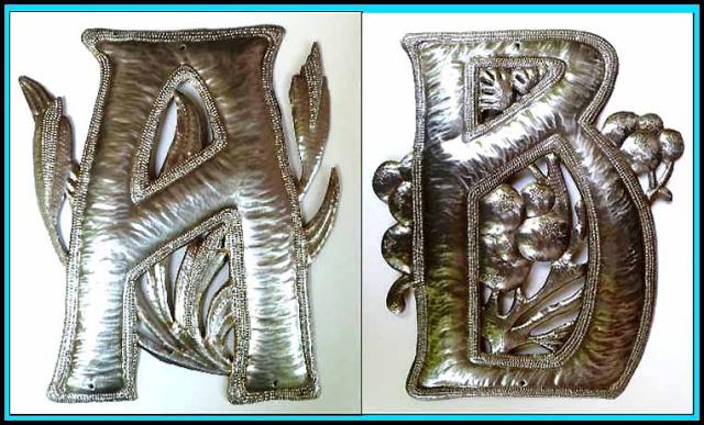 metal letters - Haitian steel drum art