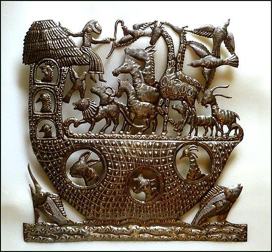 Noah's Ark - Bible Scent - Steel Drum Metal art from Haiti.