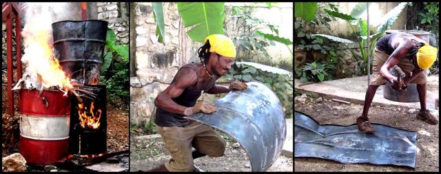 making Haitian steel drum metal art wall decor - www.haitimetalart.com