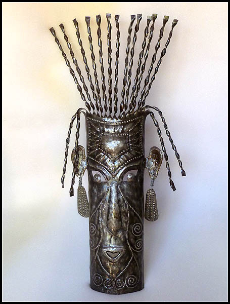mask metal wall hanging - haitian steel drum art