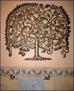 Haitian metal art tree design. Haitian Recycled steel drum metal art